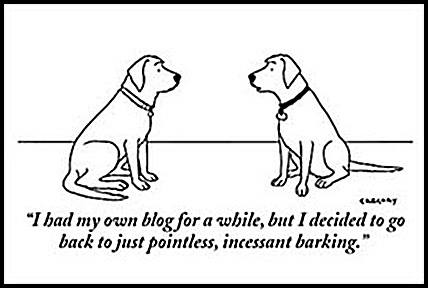 Dogs discussing blogging
